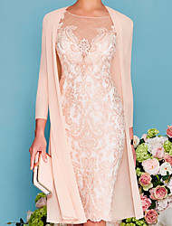 cheap -Two Piece Sheath / Column Mother of the Bride Dress Elegant Jewel Neck Knee Length Lace 3/4 Length Sleeve with Embroidery 2021