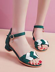 cheap -Girls' Children's Day Suede Sandals Block Heel Sandals Big Kids(7years +) Sparkling Glitter / Buckle Black / Pink / Green Summer / Party & Evening / Color Block