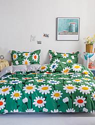 cheap -4 Piece Botanical Duvet Cover Set Cotton Bedding Set Fragmentary Floral Garden Pattern Printed