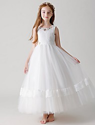 cheap -Ball Gown Round Floor Length Tulle Junior Bridesmaid Dress with Crystals / Appliques