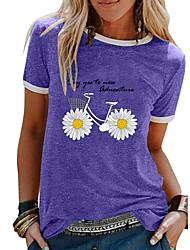 cheap -Women's Floral Daisy T-shirt Daily Black / Purple / Pink / Blue / Light Green