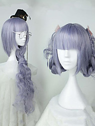cheap -Cosplay Costume Wig Cosplay Wig Lolita Curly Cosplay Halloween Neat Bang Wig Long Purple / Blue Synthetic Hair 32 inch Women's Anime Cosplay Comfortable Purple