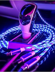 Недорогие -3in1 1.2m Стримерный кабель для передачи данных Интеллектуальное отключение питания USB-кабель для iOS android typec 2.4a линия быстрой зарядки