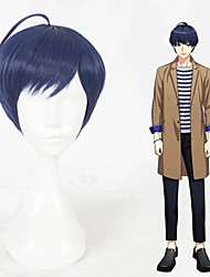cheap -Cosplay Costume Wig Cosplay Wig Tsumugi Tsukioka Straight Cosplay Halloween With Bangs Wig Short Blue Synthetic Hair 14 inch Men's Anime Cosplay Best Quality Blue