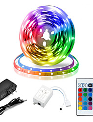 cheap -5M LED Strip Lights RGB Tiktok Lights Flexible 300 x 2835 8mm IR 24Key Remote Control Linkable Self-adhesive Color-Changing