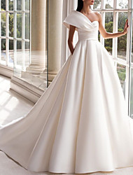 cheap -A-Line Wedding Dresses One Shoulder Sweep / Brush Train Satin Short Sleeve Simple with Ruched 2020