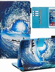 Недорогие -чехол для apple ipad mini 3/2/1 / ipad mini 4 / ipad mini 5 кошелек / визитница / с подставкой для всего тела чехлы морская волна и солнце искусственная кожа / тпу