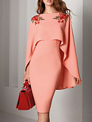 cheap -Sheath / Column Elegant Floral Wedding Guest Cocktail Party Dress Jewel Neck Long Sleeve Knee Length Satin with Sleek Appliques 2021