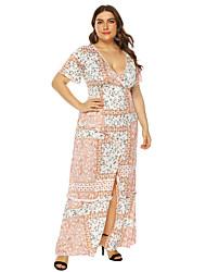 cheap -Women's A-Line Dress Maxi long Dress - Short Sleeves Print Summer Casual Vintage 2020 Orange L XL XXL XXXL XXXXL