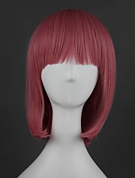 cheap -Cosplay Wig Lolita Straight Cosplay Halloween Middle Part With Bangs Wig Medium Length Pink Synthetic Hair 16 inch Women's Anime Cosplay Party Pink
