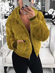 cheap -Women's Teddy Coat Regular Solid Colored Daily Black Yellow Wine Army Green S M L XL