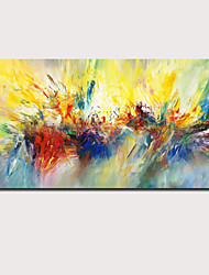 cheap -Oil Painting Hand Painted Horizontal Panoramic Abstract Floral / Botanical Comtemporary Modern Stretched Canvas