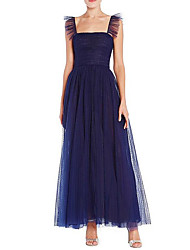 cheap -A-Line Elegant Beautiful Back Wedding Guest Formal Evening Dress Scoop Neck Sleeveless Ankle Length Chiffon with Pleats 2020