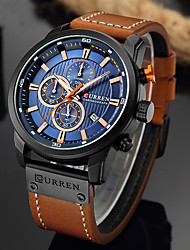 cheap -CURREN Men's Sport Watch Quartz Formal Style Classic Water Resistant / Waterproof Analog White+Sky Blue Black Blue / PU Leather / Altimeter / Calendar / date / day / Chronograph / Large Dial