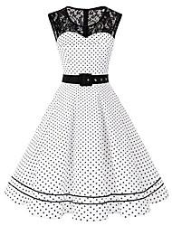 cheap -Women's Swing Dress Midi Dress Sleeveless Polka Dot Summer Hot Vintage Cotton 2021 White Black S M L XL XXL 3XL 4XL