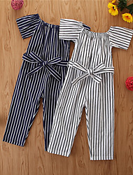 cheap -Toddler Girls' Basic Striped Overall & Jumpsuit White