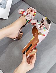 cheap -Women's Sandals Summer Block Heel Square Toe Daily Satin Purple / Pink