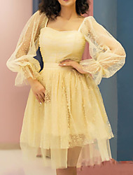 cheap -A-Line Flirty Vintage Graduation Cocktail Party Dress Scoop Neck Long Sleeve Short / Mini Tulle with Pleats Beading 2020