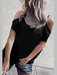 halpa -Naisten Yhtenäinen T-paita Pyöreä kaula-aukko Päivittäin Kesä Valkoinen Musta Vaalean sininen S M L XL 2XL