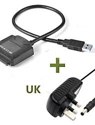 Недорогие -sata to usb 3.0 быстрая передача Easy Conversion Поддержка кабеля 2,5 / 3,5 дюйма Внешний жесткий диск HDD SSD с адаптером питания Великобритании
