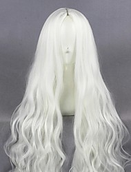 cheap -halloweencostumes Cosplay Costume Wig Cosplay Wig Kozakura Shion Curly Cosplay Halloween Middle Part Wig Long White Synthetic Hair 39 inch Women's Anime Fashionable Design Cosplay White