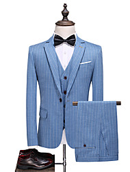 cheap -Blue Striped Standard Fit Polyester Suit - Notch Single Breasted One-button / Suits