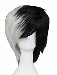 cheap -Cosplay Costume Wig Cosplay Wig Monokuma Dangan Ronpa Straight Cosplay Asymmetrical With Bangs Wig Short Black / White Synthetic Hair 14 inch Men's Anime Cosplay Cool Mixed Color