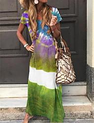 cheap -Women's A-Line Dress Maxi long Dress - Short Sleeves Tie Dye Summer Casual 2020 Purple Green Navy Blue Light Blue S M L XL XXL XXXL XXXXL XXXXXL