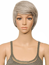 cheap -Synthetic Wig Straight Layered Haircut Wig Short Grey Synthetic Hair 10 inch Women's Women Synthetic Sexy Lady Gray hairjoy