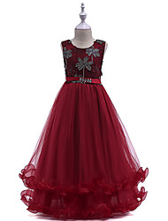 cheap -Princess Long Length Wedding / Party / Pageant Flower Girl Dresses - Lace / Tulle Sleeveless Jewel Neck with Crystals / Embroidery