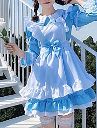 cheap -Sweet Lolita Princess Lolita Maid Uniforms Maid Suits Male Japanese Cosplay Costumes Black / Pink / Blue Solid Colored Black & White Puff / Balloon Sleeve Long Sleeve Short Sleeve Knee Length / Dress
