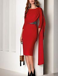 cheap -Sheath / Column Beautiful Back Elegant Party Wear Cocktail Party Dress Jewel Neck Half Sleeve Knee Length Chiffon with Sash / Ribbon 2021