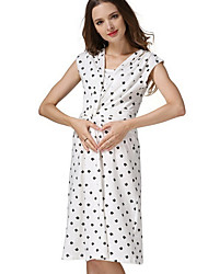 cheap -Women's A-Line Dress Knee Length Dress - Short Sleeves Striped Summer Casual Chinoiserie 2020 White Black Blue S M L XL