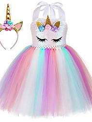 cheap -Princess Unicorn Outfits Flower Girl Dress Girls' Movie Cosplay A-Line Slip Vacation Dress Golden White Pink Dress Headband Children's Day Masquerade Polyester