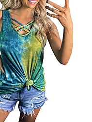cheap -Women's Tops Color Block Blouse Round Neck Daily Summer Green S M L XL