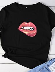 billiga -Dam Blast Geometrisk Enfärgad T-shirt Rund hals Dagligen Vit Svart Purpur Gul Rodnande Rosa Grön Ljusgrå Grå S M L XL 2XL 3XL 4XL 5XL