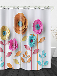 cheap -Paper Cut art Flowers Digital Print Waterproof Fabric Shower Curtain for Bathroom Home Decor Covered Bathtub Curtains Liner Includes with Hooks