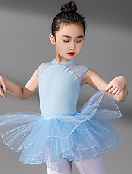 cheap -Ballet Skirts Lace Split Joint Tiered Girls' Training Performance Sleeveless High Spandex Lace Tulle