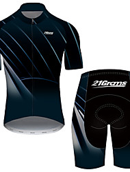 cheap -21Grams Men's Short Sleeve Cycling Jersey with Shorts Nylon Polyester Black / Blue Stripes Gradient Bike Clothing Suit Breathable 3D Pad Quick Dry Ultraviolet Resistant Reflective Strips Sports Solid