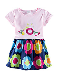 cheap -Baby Girls' Active Tropical Leaf Sun Flower Floral Embroidered Short Sleeve Knee-length Dress Blushing Pink