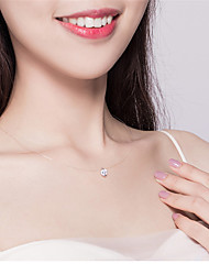 cheap -Women's Choker Necklace Pendant Necklace Dainty Artistic Elegant Fashion Zircon S925 Sterling Silver White 40 cm Necklace Jewelry For Street Birthday Party Beach Festival