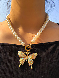 cheap -Women's Pendant Necklace Classic Butterfly Korean Imitation Pearl Chrome Gold 46 cm Necklace Jewelry For Prom Beach