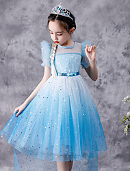 cheap -Fairytale Frozen Dress Girls' Movie Cosplay Cosplay Princess Vacation Dress Blue Dress Children's Day Polyester Cotton