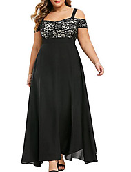 cheap -Women's Plus Size Dress A Line Dress Maxi long Dress Black Purple Wine Green Short Sleeve Solid Color Summer Off Shoulder Elegant Sexy 2021 L XL XXL 3XL 4XL 5XL