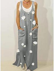 cheap -Women's Shift Dress Maxi long Dress - Sleeveless Floral Summer Strapless Casual Mumu 2020 Green Gray M L XL XXL 3XL
