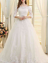 cheap -A-Line Wedding Dresses Off Shoulder Sweep / Brush Train Lace Tulle 3/4 Length Sleeve Formal with Embroidery Crystal Brooch 2020