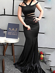 cheap -Mermaid / Trumpet Cut Out Sexy Wedding Guest Formal Evening Dress V Neck Sleeveless Sweep / Brush Train Spandex with Sleek 2020
