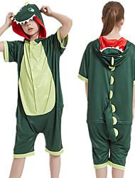 cheap -Kid's Kigurumi Pajamas Dinosaur Onesie Pajamas Silk Fabric Green Cosplay For Boys and Girls Animal Sleepwear Cartoon Festival / Holiday Costumes / Leotard / Onesie