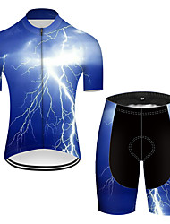 cheap -21Grams Men's Short Sleeve Cycling Jersey with Shorts Nylon Polyester Blue 3D Lightning Gradient Bike Clothing Suit Breathable 3D Pad Quick Dry Ultraviolet Resistant Reflective Strips Sports 3D