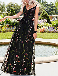 cheap -A-Line Empire Black Holiday Beach Dress V Neck Sleeveless Floor Length Organza Tulle with Pattern / Print 2020